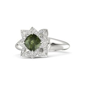 Cushion Green Tourmaline Platinum Ring with White Sapphire
