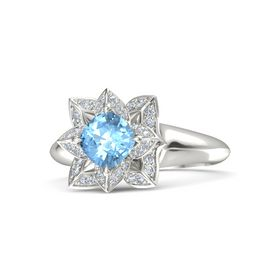 Cushion Blue Topaz Platinum Ring with Diamond