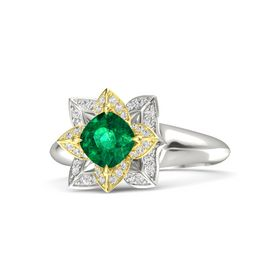 Cushion Emerald Platinum Ring with White Sapphire