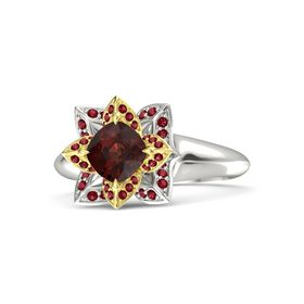Cushion Red Garnet Platinum Ring with Ruby
