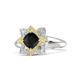 Cushion Black Onyx Platinum Ring with Diamond