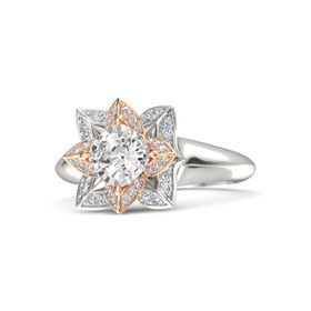 Cushion White Sapphire Platinum Ring with Diamond