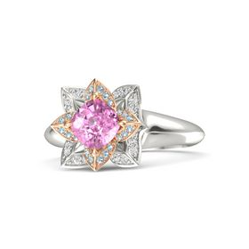 Cushion Pink Sapphire Platinum Ring with Aquamarine and White Sapphire