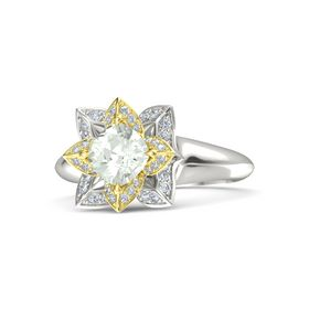 Cushion Green Amethyst Platinum Ring with Diamond