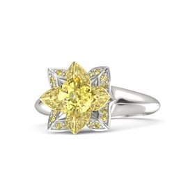Cushion Yellow Sapphire Platinum Ring with Yellow Sapphire