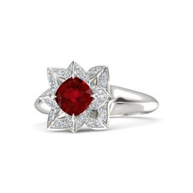 Cushion Ruby Platinum Ring with Diamond