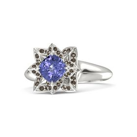 Cushion Tanzanite Platinum Ring with Smoky Quartz