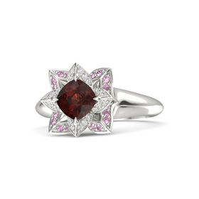 Cushion Red Garnet Platinum Ring with White Sapphire and Pink Sapphire