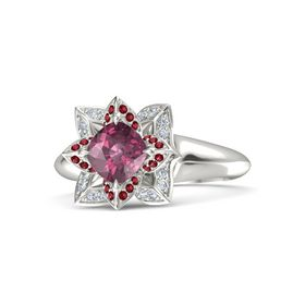 Cushion Rhodolite Garnet Platinum Ring with Ruby and Diamond