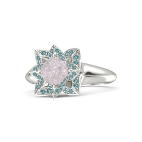 Cushion Rose Quartz Platinum Ring with London Blue Topaz