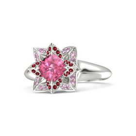 Cushion Pink Tourmaline Platinum Ring with Ruby and Pink Sapphire
