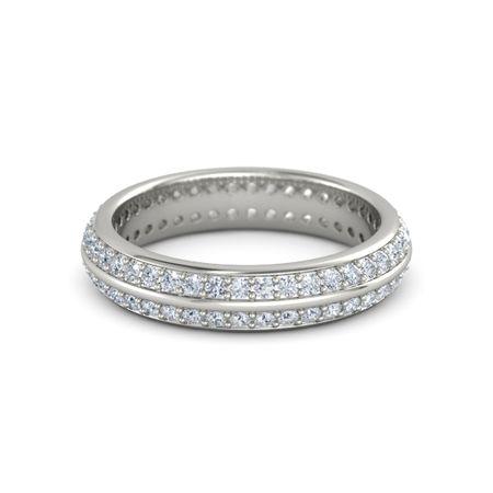 Palladium Ring with Diamond | Double Pave Band | Gemvara