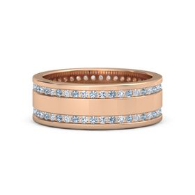 14K Rose Gold Ring with Blue Topaz & Diamond