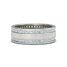 14K White Gold Ring with Aquamarine & Diamond