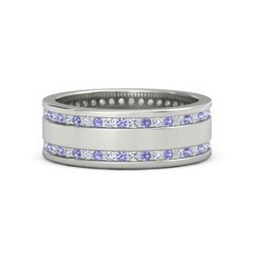 18K White Gold Ring with Iolite and Diamond