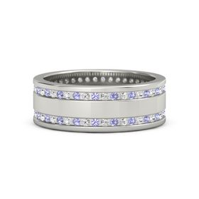 18K White Gold Ring with Tanzanite and White Sapphire