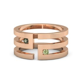 14K Rose Gold Ring with Green Tourmaline and Peridot