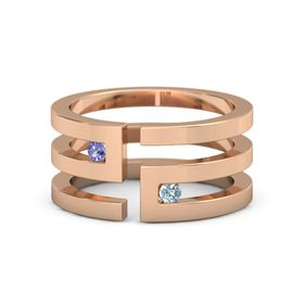 14K Rose Gold Ring with Iolite and Aquamarine
