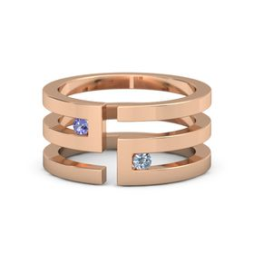14K Rose Gold Ring with Iolite and Blue Topaz