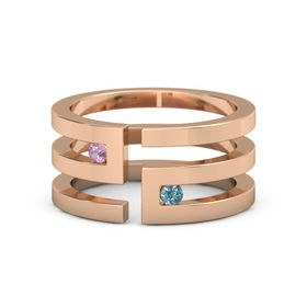 14K Rose Gold Ring with Pink Tourmaline and London Blue Topaz