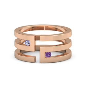 14K Rose Gold Ring with Tanzanite and Amethyst