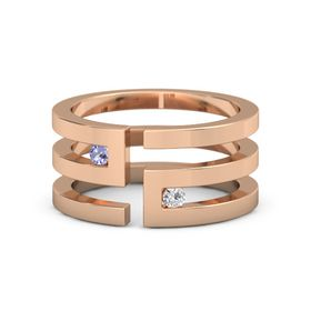 14K Rose Gold Ring with Tanzanite & White Sapphire
