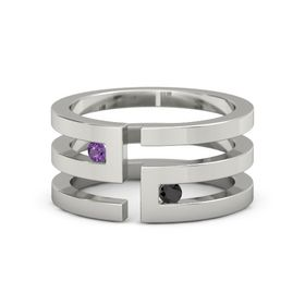14K White Gold Ring with Amethyst & Black Diamond