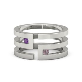 14K White Gold Ring with Amethyst & Rhodolite Garnet