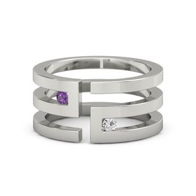 14K White Gold Ring with Amethyst & White Sapphire