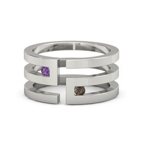 14K White Gold Ring with Amethyst and Smoky Quartz