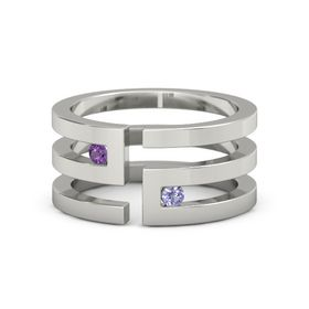 14K White Gold Ring with Amethyst & Tanzanite
