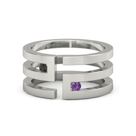 14K White Gold Ring with Black Diamond & Amethyst