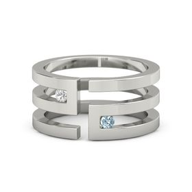 14K White Gold Ring with White Sapphire and Aquamarine