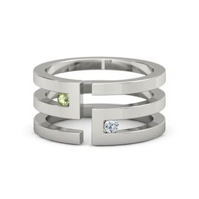 14K White Gold Ring with Peridot and Diamond