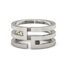 14K White Gold Ring with Peridot & Green Tourmaline
