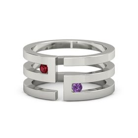 14K White Gold Ring with Ruby and Amethyst