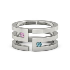 14K White Gold Ring with Pink Tourmaline and London Blue Topaz