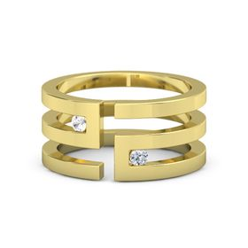 14K Yellow Gold Ring with Rock Crystal & Diamond