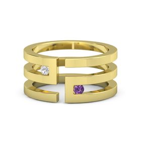 14K Yellow Gold Ring with White Sapphire and Amethyst