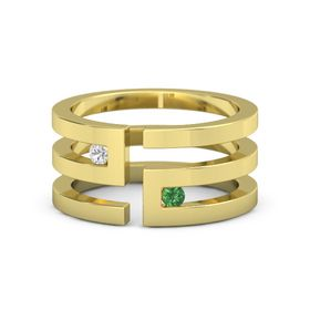 14K Yellow Gold Ring with White Sapphire & Emerald