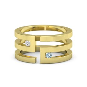 14K Yellow Gold Ring with White Sapphire & Aquamarine