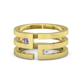 14K Yellow Gold Ring with Iolite and White Sapphire