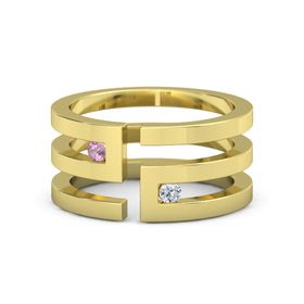 14K Yellow Gold Ring with Pink Tourmaline and Diamond