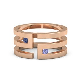 18K Rose Gold Ring with Sapphire & Iolite