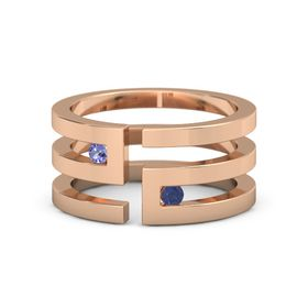 18K Rose Gold Ring with Iolite and Blue Sapphire