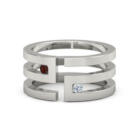 18K White Gold Ring with Red Garnet and Diamond