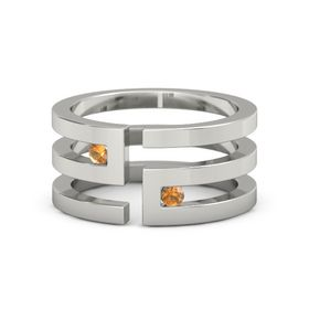 18K White Gold Ring with Citrine