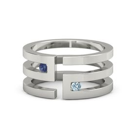 18K White Gold Ring with Blue Sapphire and Aquamarine