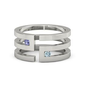 18K White Gold Ring with Iolite and Aquamarine