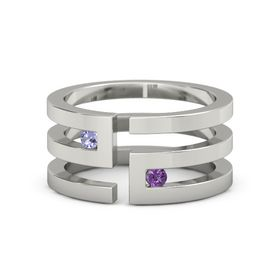 18K White Gold Ring with Tanzanite and Amethyst